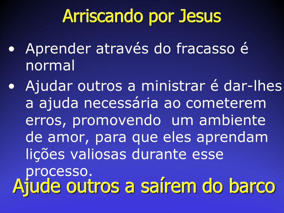 Arriscando por Jesus Aprender através do fracasso é normal Ajudar outros a ministrar é dar-lhes a ajuda necessária ao cometerem erros, promovendo um a