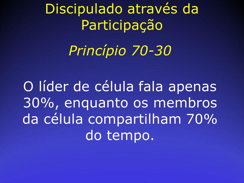 Princípio 70-30 O líder de célula fala apenas 30%, enquanto os membros da célula compartilham 70% do tempo. Discipulado através da Participação