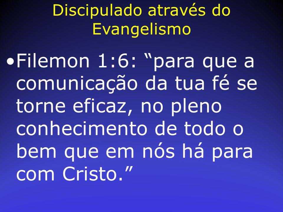 """Filemon 1:6: """"para que a comunicação da tua fé se torne eficaz, no pleno conhecimento de todo o bem que em nós há para com Cristo."""" Discipulado atravé"""