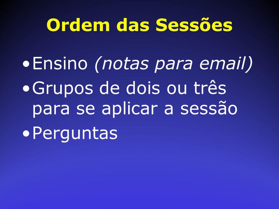 Ordem das Sessões Ensino (notas para email) Grupos de dois ou três para se aplicar a sessão Perguntas