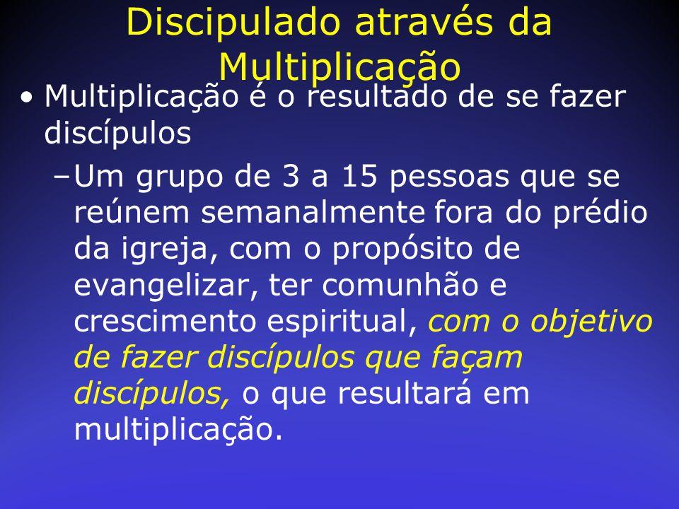 Multiplicação é o resultado de se fazer discípulos –Um grupo de 3 a 15 pessoas que se reúnem semanalmente fora do prédio da igreja, com o propósito de
