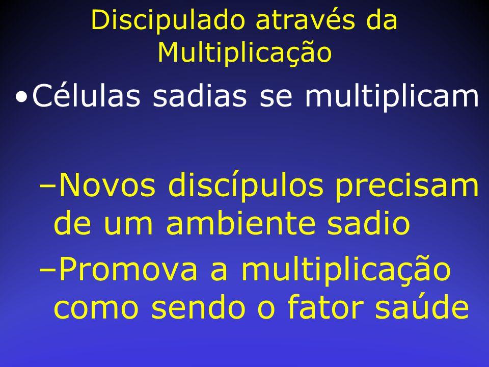 Células sadias se multiplicam –Novos discípulos precisam de um ambiente sadio –Promova a multiplicação como sendo o fator saúde Discipulado através da