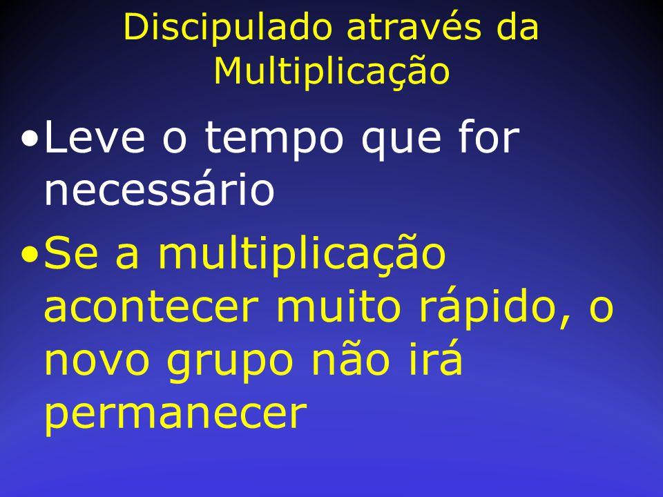 Leve o tempo que for necessário Se a multiplicação acontecer muito rápido, o novo grupo não irá permanecer Discipulado através da Multiplicação