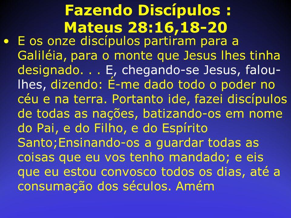 Fazendo Discípulos : Mateus 28:16,18-20 E os onze discípulos partiram para a Galiléia, para o monte que Jesus lhes tinha designado... E, chegando-se J