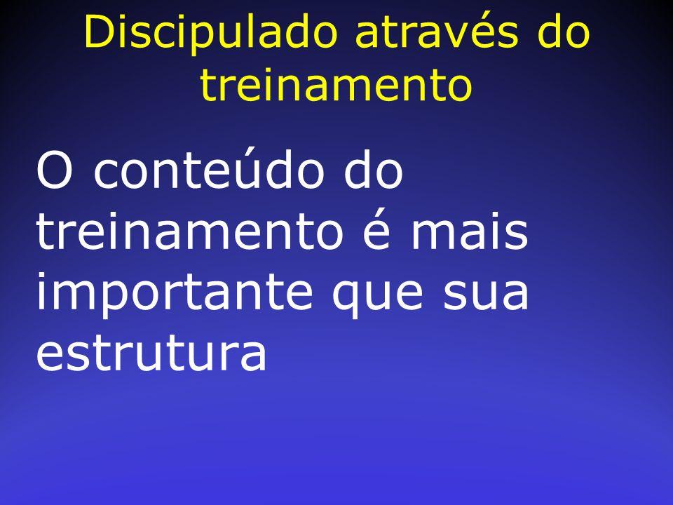 O conteúdo do treinamento é mais importante que sua estrutura Discipulado através do treinamento