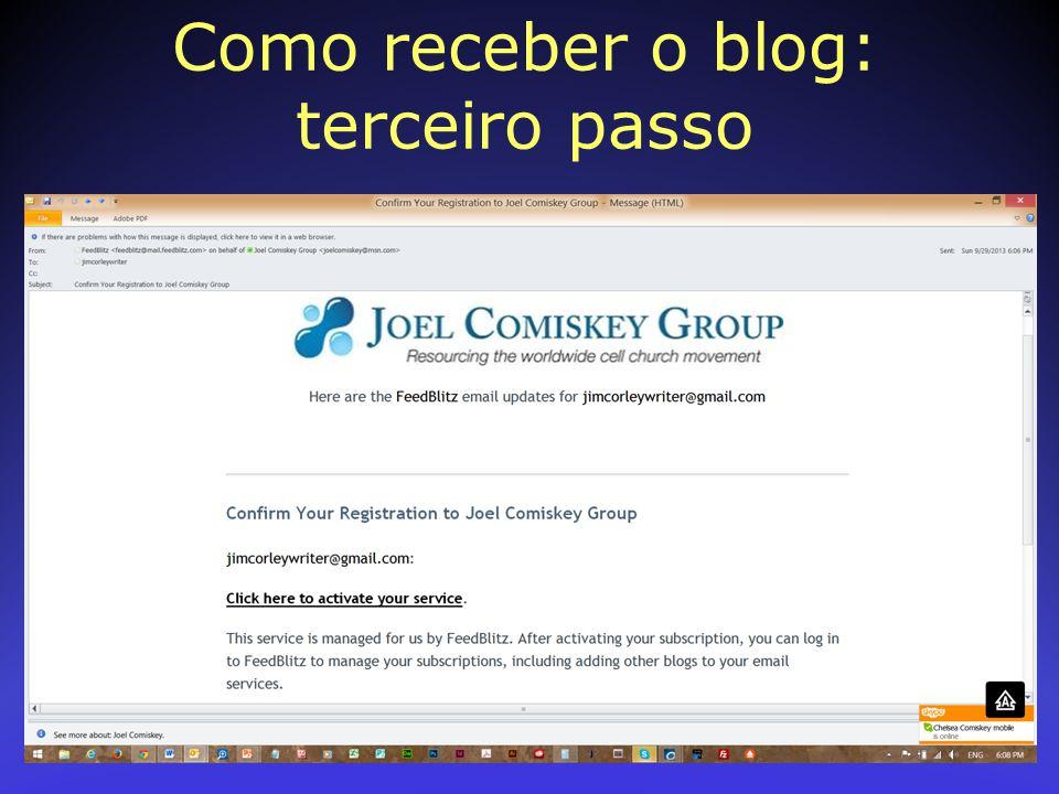 Como receber o blog: terceiro passo