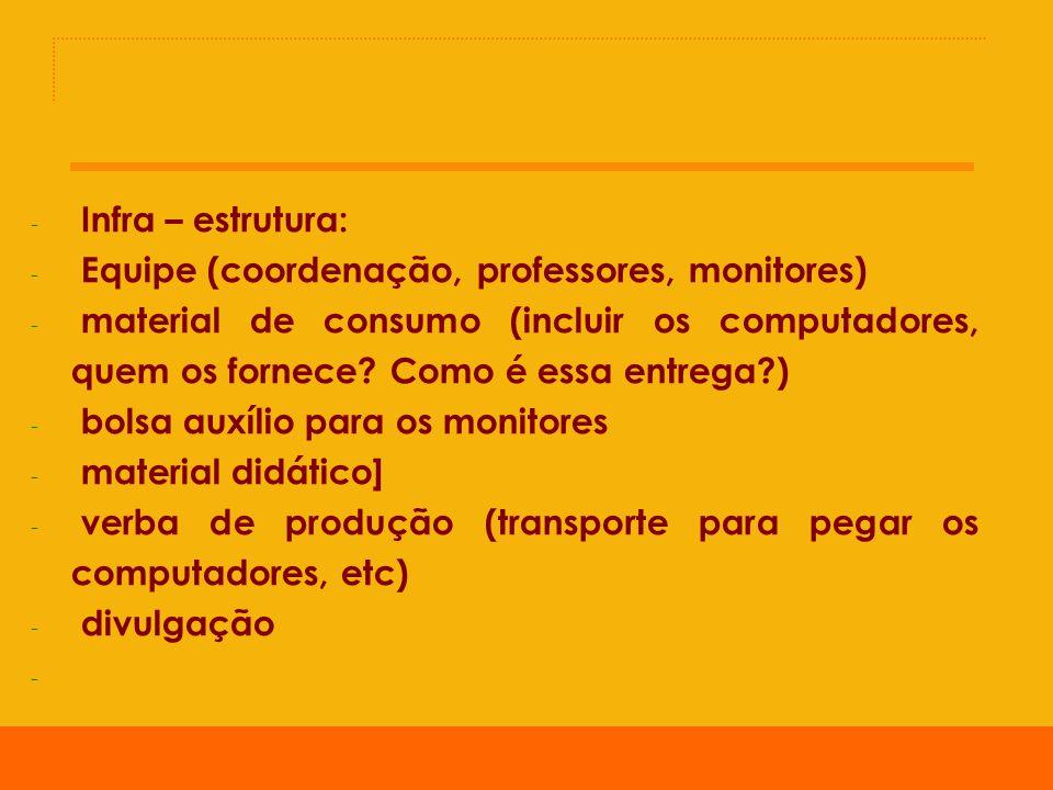 - Cronograma de oficinas - Horário das turmas, tempo de duração (pensando que existe o nível iniciante e o nível monitores) 