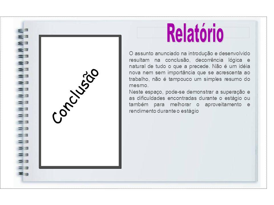 Conclusão O assunto anunciado na introdução e desenvolvido resultam na conclusão, decorrência lógica e natural de tudo o que a precede.