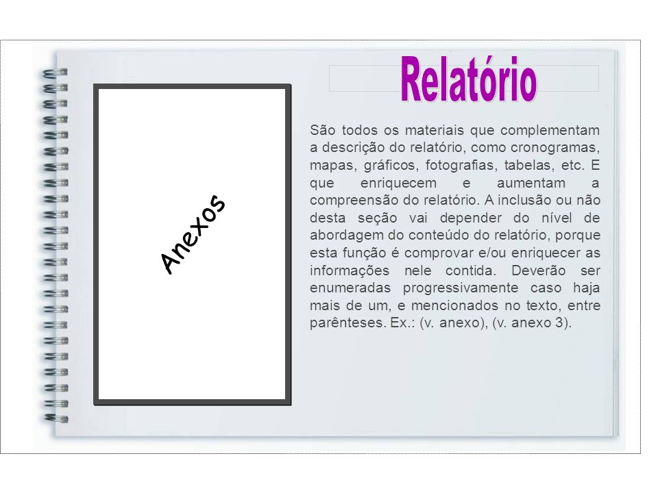Anexos São todos os materiais que complementam a descrição do relatório, como cronogramas, mapas, gráficos, fotografias, tabelas, etc.