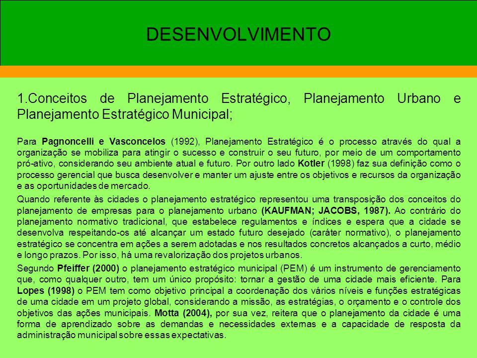 1.Conceitos de Planejamento Estratégico, Planejamento Urbano e Planejamento Estratégico Municipal; Para Pagnoncelli e Vasconcelos (1992), Planejamento