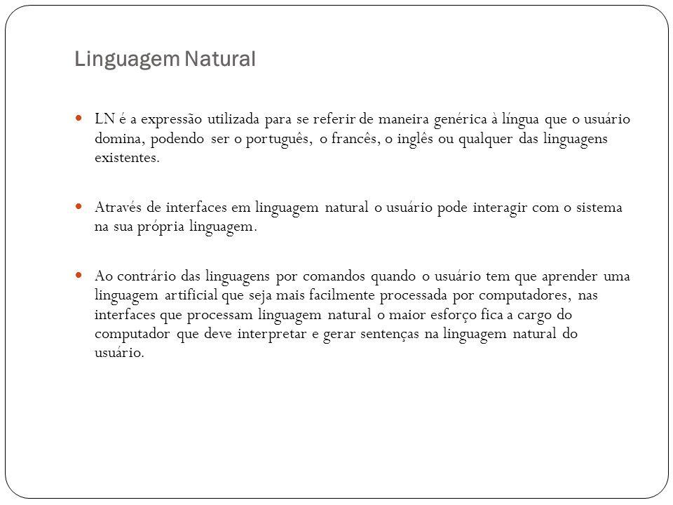 Linguagem Natural LN é a expressão utilizada para se referir de maneira genérica à língua que o usuário domina, podendo ser o português, o francês, o