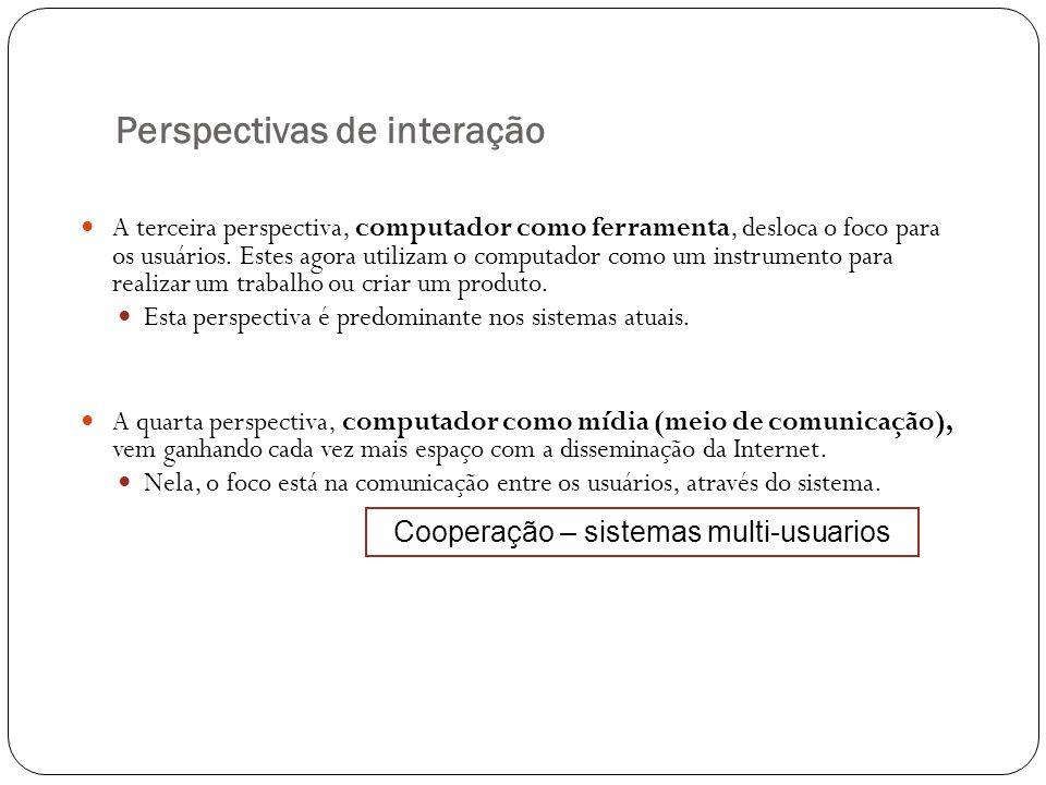 Perspectivas de interação A terceira perspectiva, computador como ferramenta, desloca o foco para os usuários. Estes agora utilizam o computador como