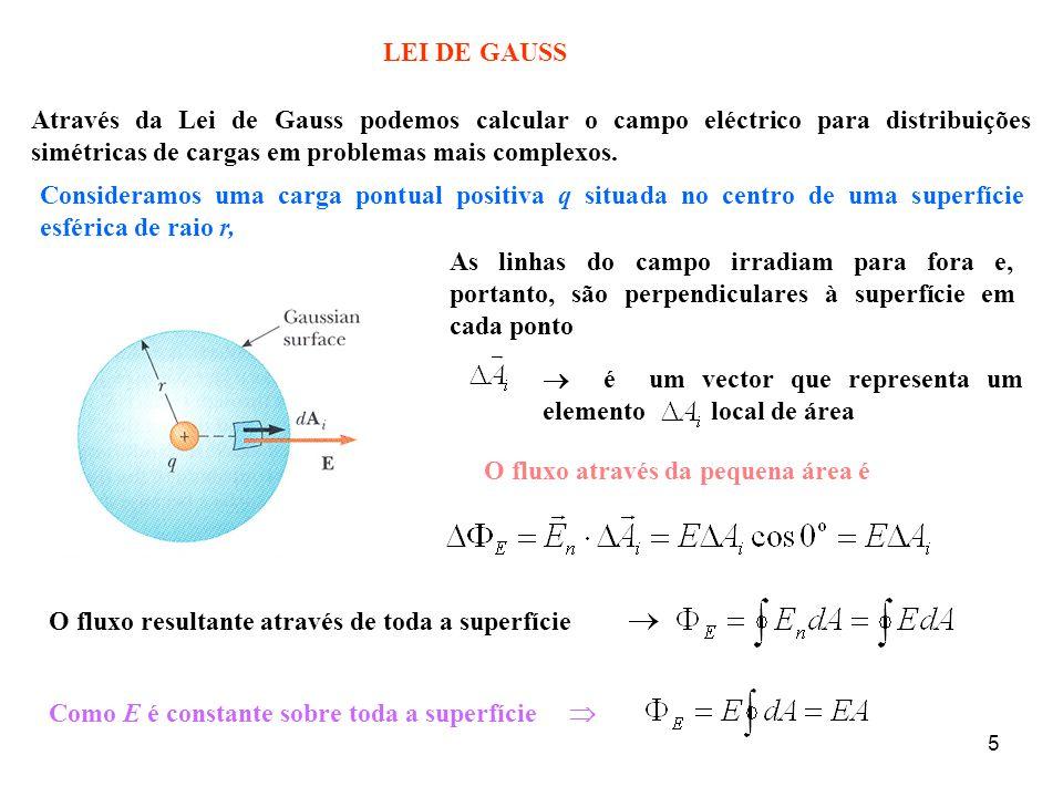 5  é um vector que representa um elemento local de área LEI DE GAUSS Através da Lei de Gauss podemos calcular o campo eléctrico para distribuições simétricas de cargas em problemas mais complexos.