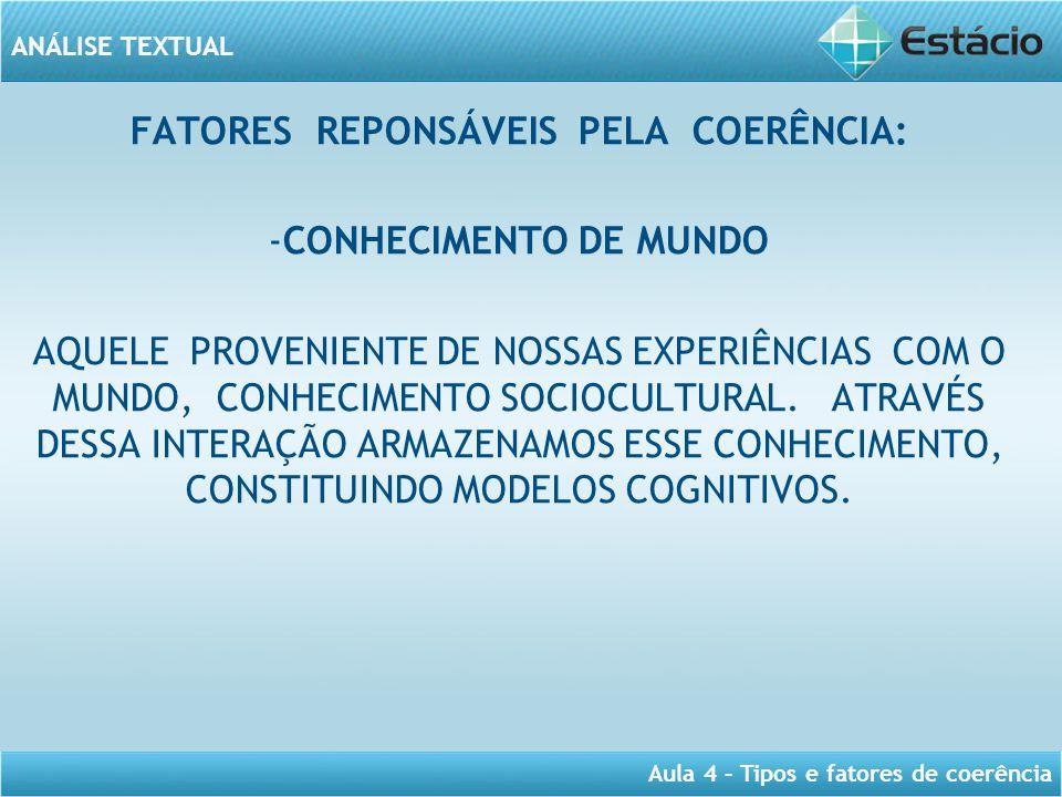 ANÁLISE TEXTUAL Aula 4 – Tipos e fatores de coerência FATORES REPONSÁVEIS PELA COERÊNCIA: -CONHECIMENTO DE MUNDO AQUELE PROVENIENTE DE NOSSAS EXPERIÊN