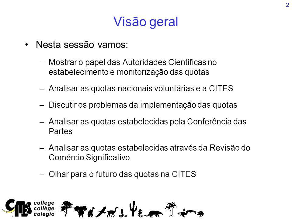 2 Visão geral Nesta sessão vamos: –Mostrar o papel das Autoridades Cientificas no estabelecimento e monitorização das quotas –Analisar as quotas nacionais voluntárias e a CITES –Discutir os problemas da implementação das quotas –Analisar as quotas estabelecidas pela Conferência das Partes –Analisar as quotas estabelecidas através da Revisão do Comércio Significativo –Olhar para o futuro das quotas na CITES