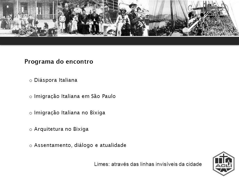 Limes: através das linhas invisíveis da cidade Programa do encontro o Diáspora Italiana o Imigração Italiana em São Paulo o Imigração Italiana no Bixi
