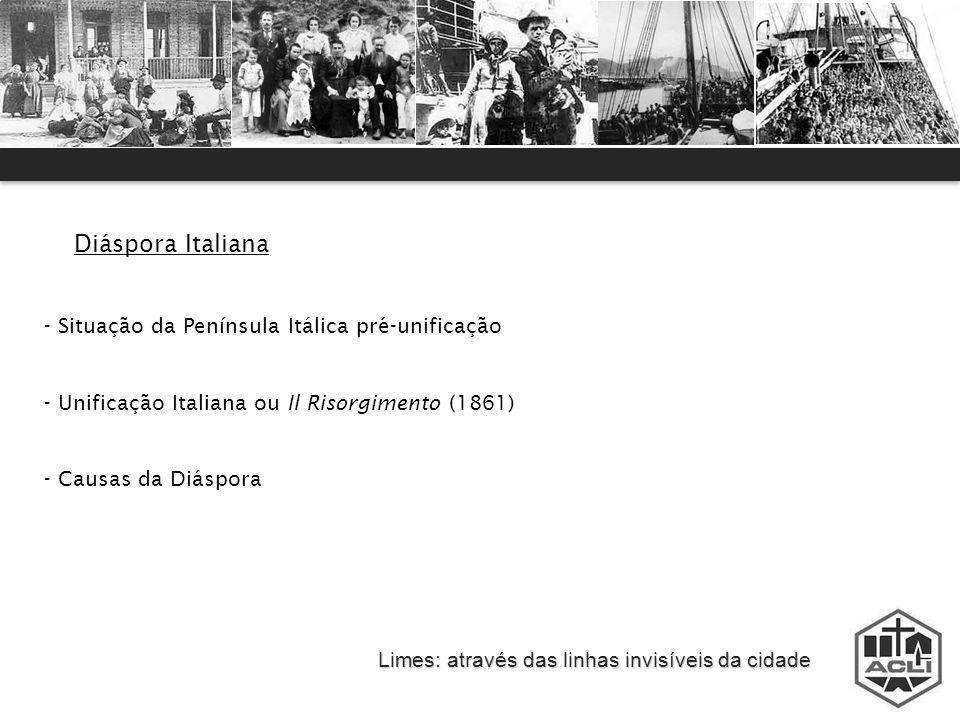 Limes: através das linhas invisíveis da cidade Diáspora Italiana - Situação da Península Itálica pré-unificação - Unificação Italiana ou Il Risorgimen