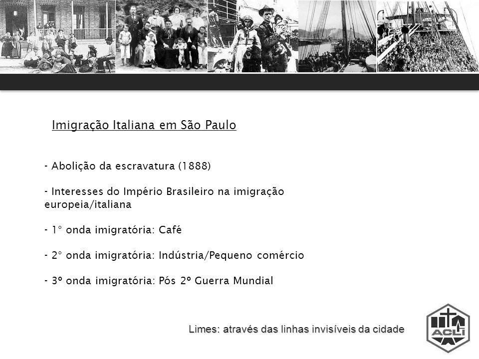 Limes: através das linhas invisíveis da cidade Imigração Italiana em São Paulo - Abolição da escravatura (1888) - Interesses do Império Brasileiro na