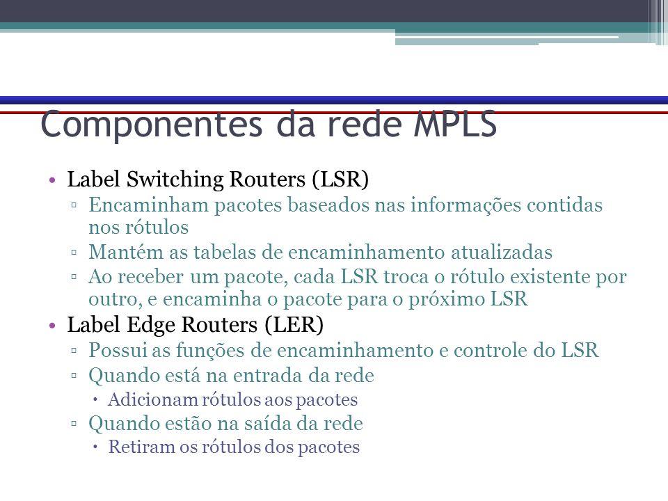 Componentes da rede MPLS Label Switching Routers (LSR) ▫Encaminham pacotes baseados nas informações contidas nos rótulos ▫Mantém as tabelas de encamin