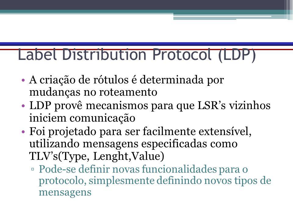 Label Distribution Protocol (LDP) A criação de rótulos é determinada por mudanças no roteamento LDP provê mecanismos para que LSR's vizinhos iniciem c