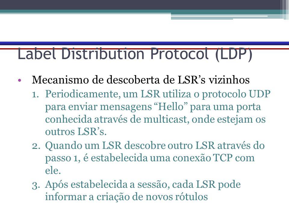 """Label Distribution Protocol (LDP) Mecanismo de descoberta de LSR's vizinhos 1.Periodicamente, um LSR utiliza o protocolo UDP para enviar mensagens """"He"""