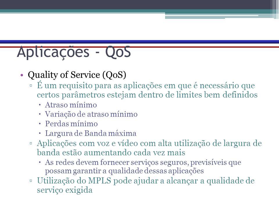 Aplicações - QoS Quality of Service (QoS) ▫É um requisito para as aplicações em que é necessário que certos parâmetros estejam dentro de limites bem d