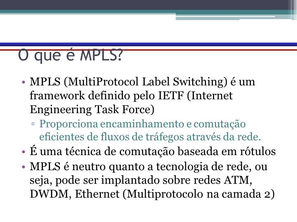 O que é MPLS? MPLS (MultiProtocol Label Switching) é um framework definido pelo IETF (Internet Engineering Task Force) ▫Proporciona encaminhamento e c