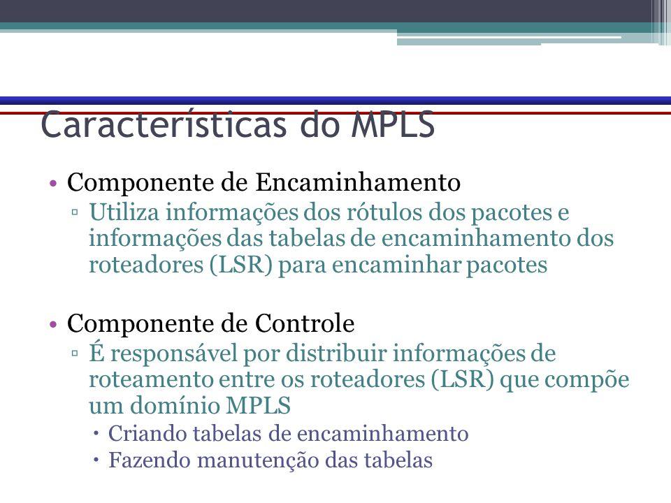 Características do MPLS Componente de Encaminhamento ▫Utiliza informações dos rótulos dos pacotes e informações das tabelas de encaminhamento dos rote