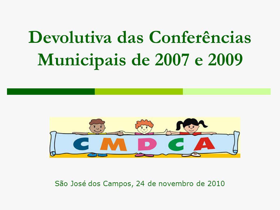 Devolutiva das Conferências Municipais de 2007 e 2009 São José dos Campos, 24 de novembro de 2010