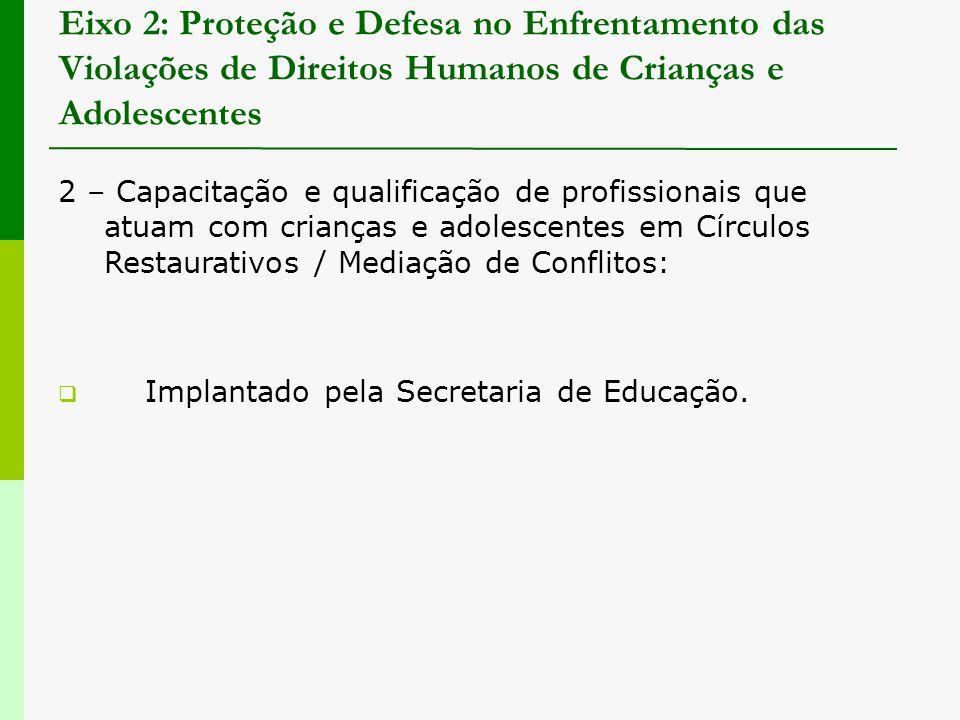 Eixo 2: Proteção e Defesa no Enfrentamento das Violações de Direitos Humanos de Crianças e Adolescentes 2 – Capacitação e qualificação de profissionai