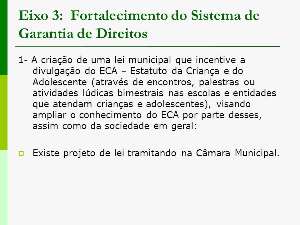 Eixo 3: Fortalecimento do Sistema de Garantia de Direitos 1- A criação de uma lei municipal que incentive a divulgação do ECA – Estatuto da Criança e