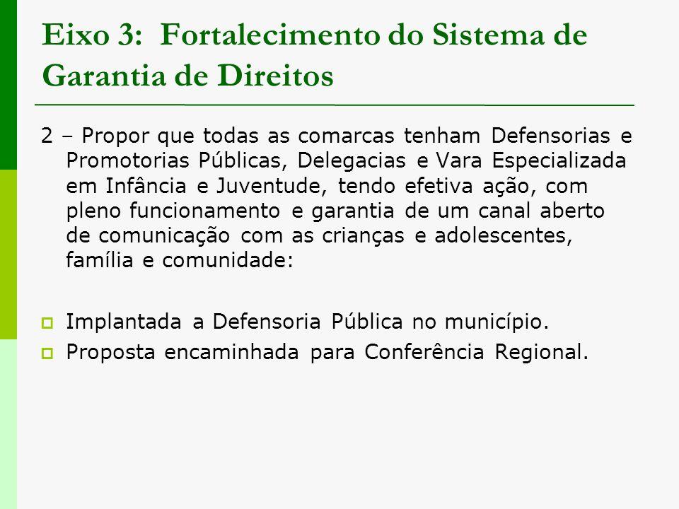 Eixo 3: Fortalecimento do Sistema de Garantia de Direitos 2 – Propor que todas as comarcas tenham Defensorias e Promotorias Públicas, Delegacias e Var