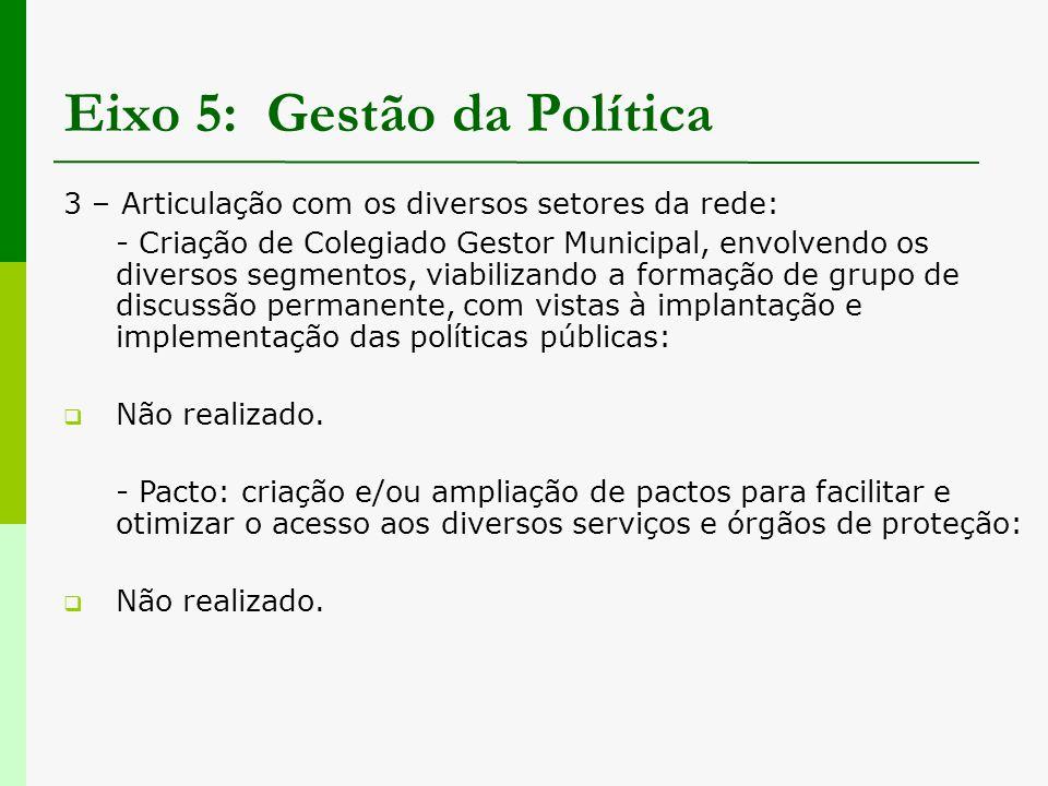 Eixo 5: Gestão da Política 3 – Articulação com os diversos setores da rede: - Criação de Colegiado Gestor Municipal, envolvendo os diversos segmentos,