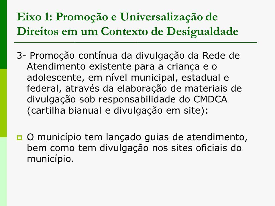 Eixo 1: Promoção e Universalização de Direitos em um Contexto de Desigualdade 3- Promoção contínua da divulgação da Rede de Atendimento existente para