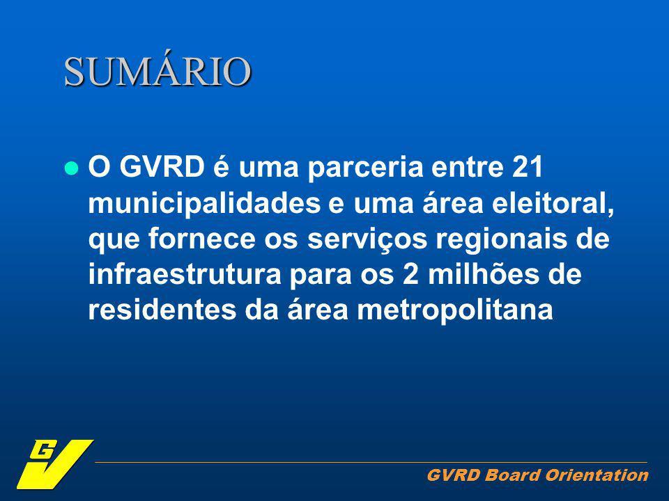 GVRD Board Orientation SUMÁRIO O GVRD é uma parceria entre 21 municipalidades e uma área eleitoral, que fornece os serviços regionais de infraestrutura para os 2 milhões de residentes da área metropolitana