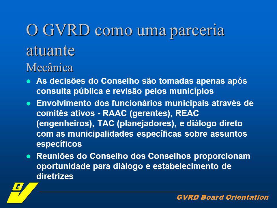 GVRD Board Orientation O GVRD como uma parceria atuante Mecânica As decisões do Conselho são tomadas apenas após consulta pública e revisão pelos municípios Envolvimento dos funcionários municipais através de comitês ativos - RAAC (gerentes), REAC (engenheiros), TAC (planejadores), e diálogo direto com as municipalidades específicas sobre assuntos específicos Reuniões do Conselho dos Conselhos proporcionam oportunidade para diálogo e estabelecimento de diretrizes