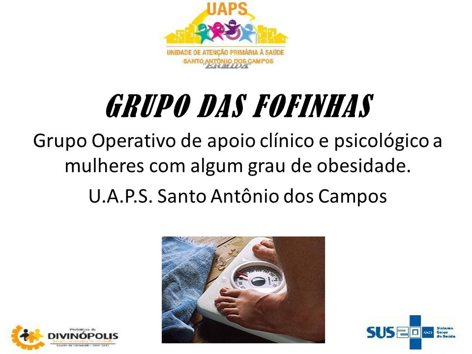 GRUPO DAS FOFINHAS Grupo Operativo de apoio clínico e psicológico a mulheres com algum grau de obesidade. U.A.P.S. Santo Antônio dos Campos