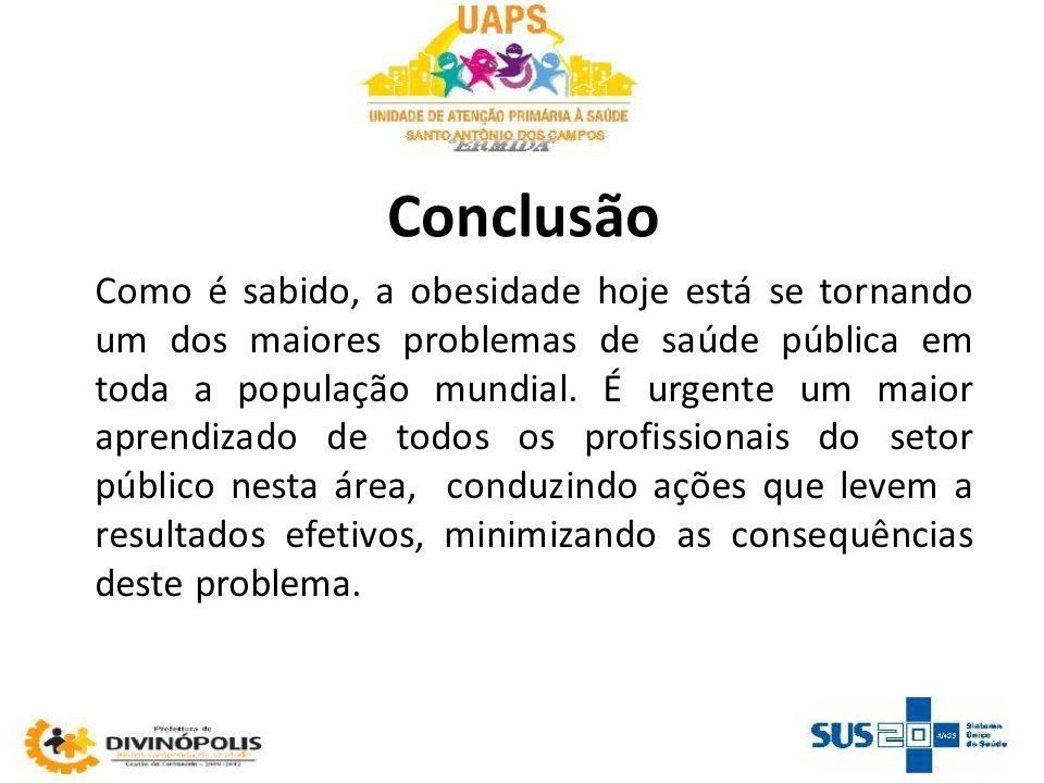 Conclusão Como é sabido, a obesidade hoje está se tornando um dos maiores problemas de saúde pública em toda a população mundial.