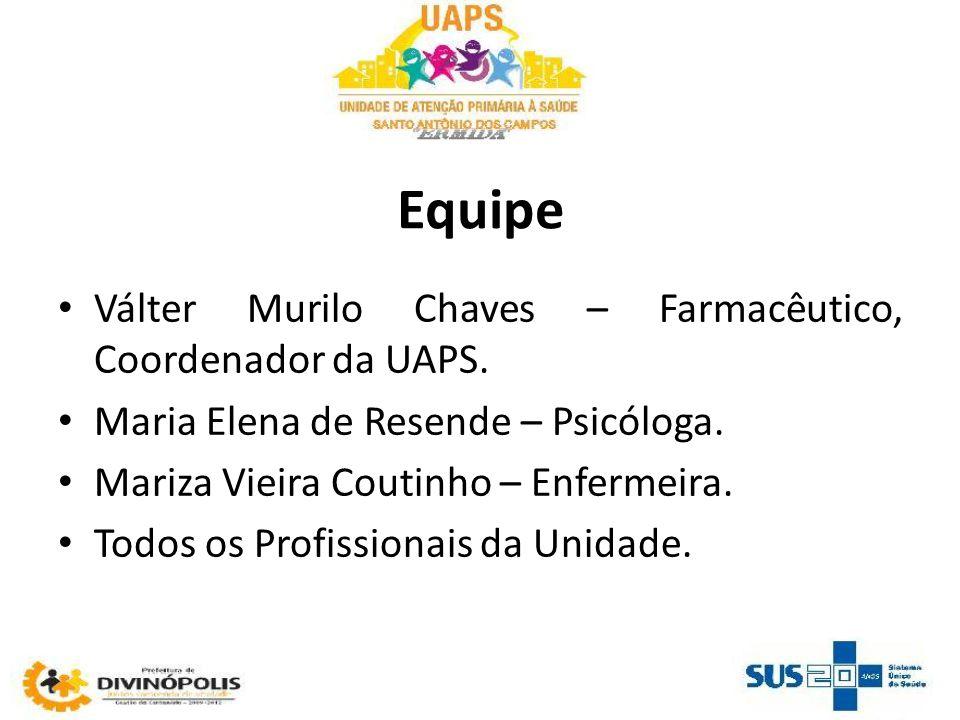 Equipe Válter Murilo Chaves – Farmacêutico, Coordenador da UAPS. Maria Elena de Resende – Psicóloga. Mariza Vieira Coutinho – Enfermeira. Todos os Pro