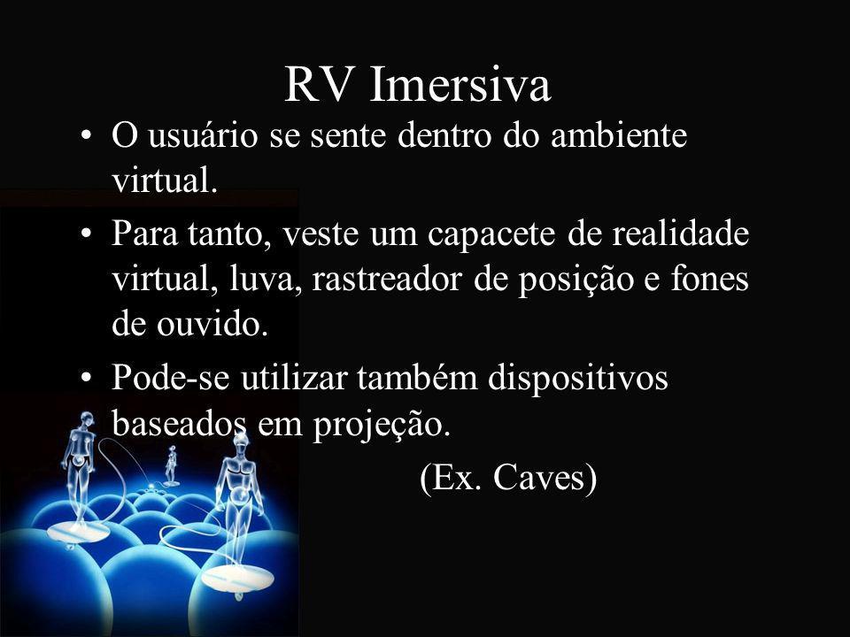 RV Imersiva O usuário se sente dentro do ambiente virtual. Para tanto, veste um capacete de realidade virtual, luva, rastreador de posição e fones de