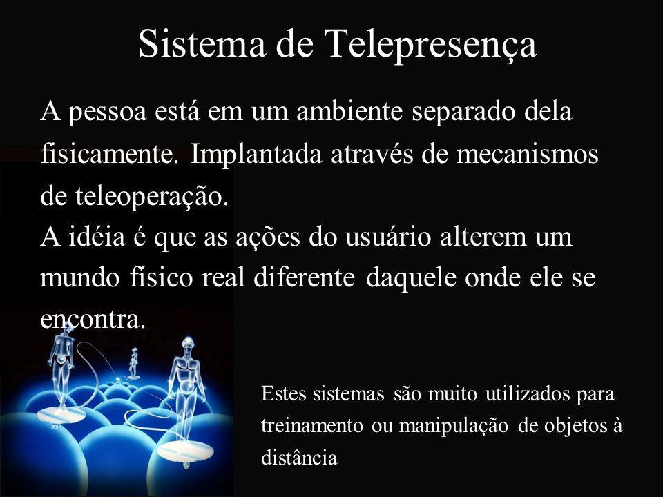 Sistema de Telepresença A pessoa está em um ambiente separado dela fisicamente. Implantada através de mecanismos de teleoperação. A idéia é que as açõ