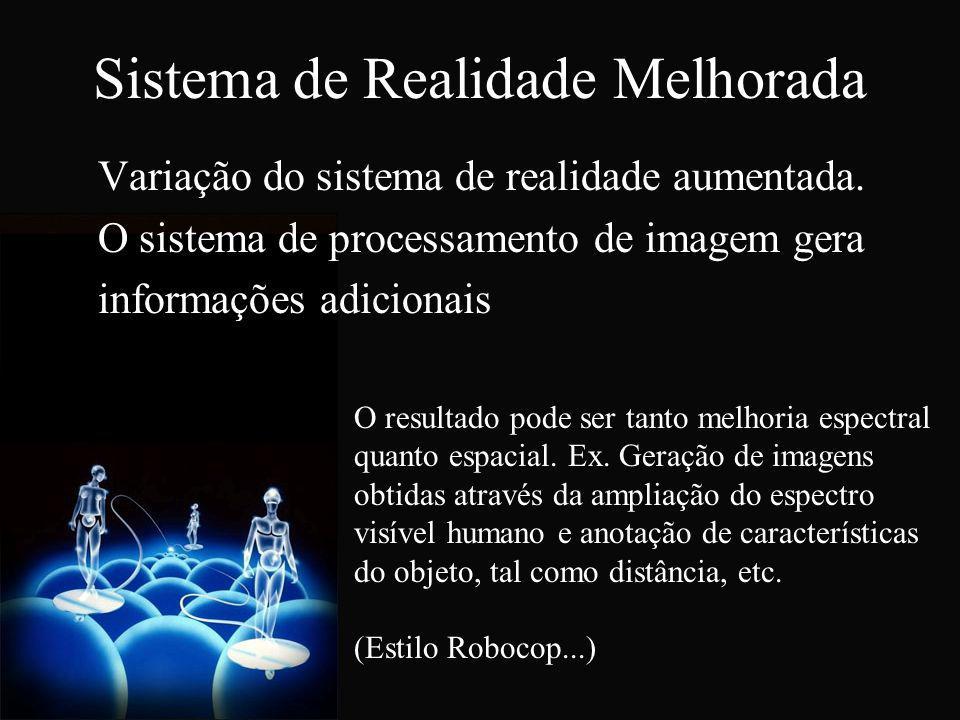 Sistema de Realidade Melhorada Variação do sistema de realidade aumentada. O sistema de processamento de imagem gera informações adicionais O resultad