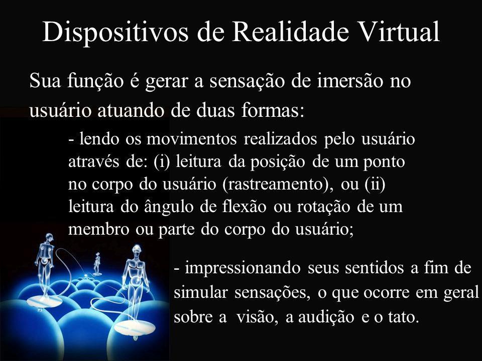 Dispositivos de Realidade Virtual Sua função é gerar a sensação de imersão no usuário atuando de duas formas: - lendo os movimentos realizados pelo us