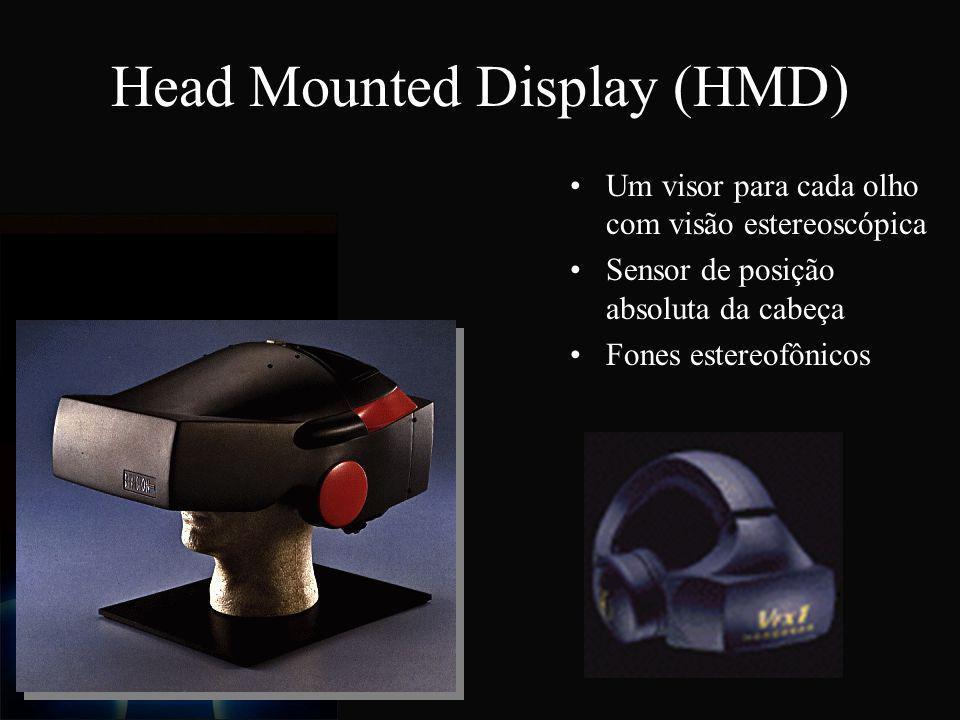 Head Mounted Display (HMD) Um visor para cada olho com visão estereoscópica Sensor de posição absoluta da cabeça Fones estereofônicos