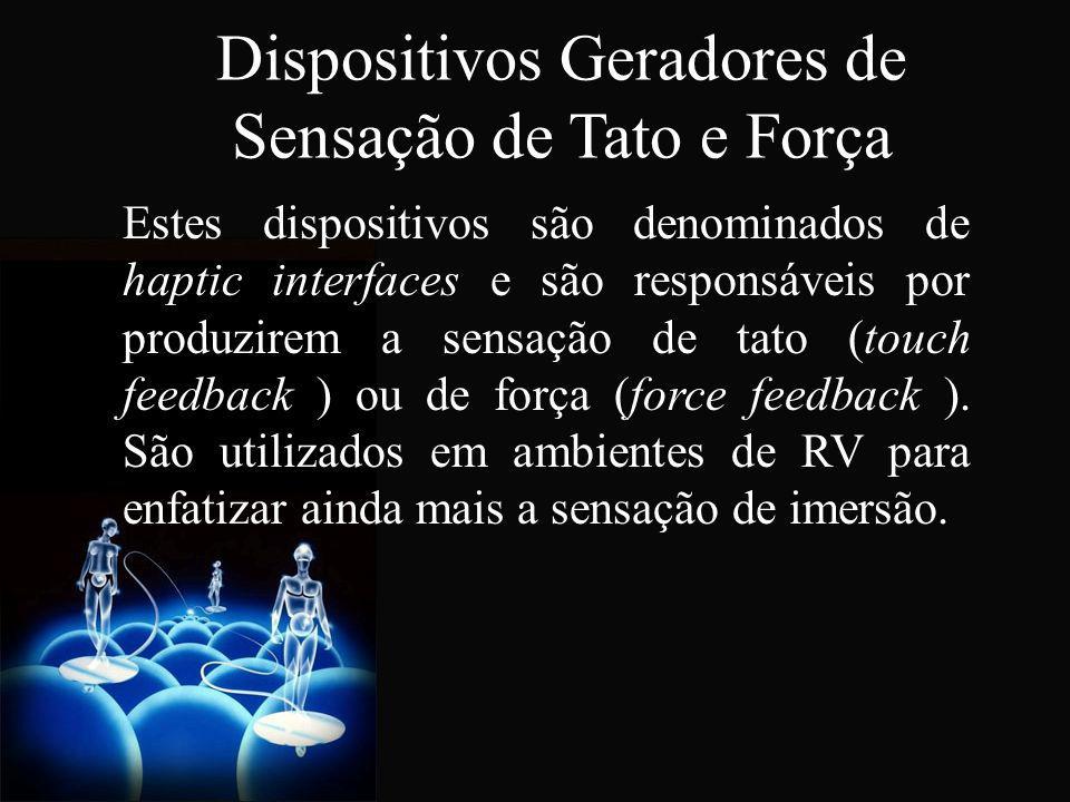 Dispositivos Geradores de Sensação de Tato e Força Estes dispositivos são denominados de haptic interfaces e são responsáveis por produzirem a sensaçã