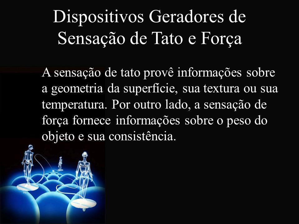 Dispositivos Geradores de Sensação de Tato e Força A sensação de tato provê informações sobre a geometria da superfície, sua textura ou sua temperatur
