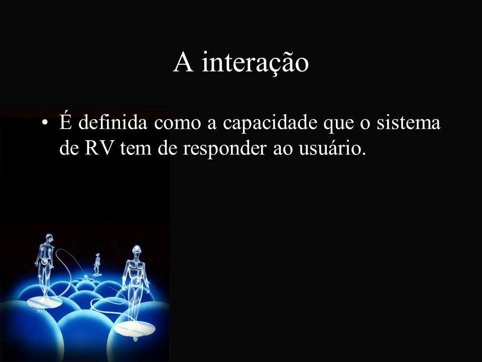 Interação Depende de: Capacidade de detectar as ações do usuário; Capacidade de modificar o mundo virtual com rapidez; Capacidade de gerar ações sobre os sentidos do usuário.