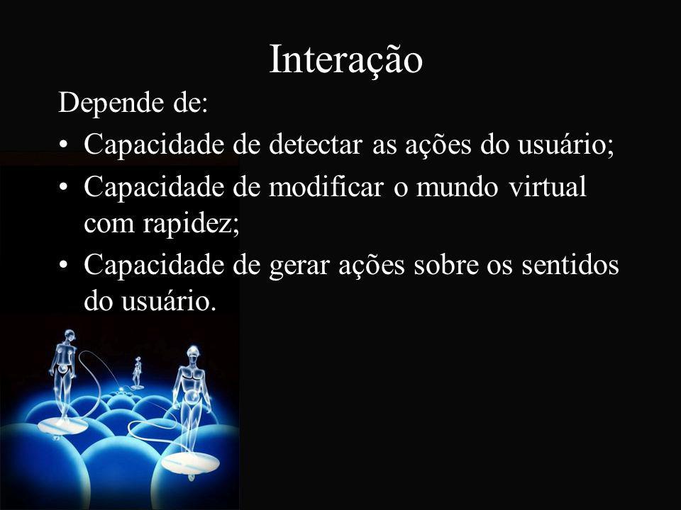 Dispositivos de Realidade Virtual Sua função é gerar a sensação de imersão no usuário atuando de duas formas: - lendo os movimentos realizados pelo usuário através de: (i) leitura da posição de um ponto no corpo do usuário (rastreamento), ou (ii) leitura do ângulo de flexão ou rotação de um membro ou parte do corpo do usuário; - impressionando seus sentidos a fim de simular sensações, o que ocorre em geral sobre a visão, a audição e o tato.