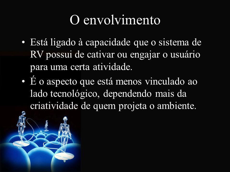 O envolvimento Está ligado à capacidade que o sistema de RV possui de cativar ou engajar o usuário para uma certa atividade. É o aspecto que está meno