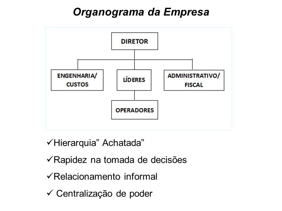 Organograma da Empresa Hierarquia Achatada Rapidez na tomada de decisões Relacionamento informal Centralização de poder